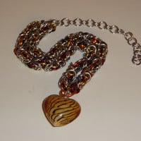 Striped Glass Heart Pendant Chainmaille Choker Necklace