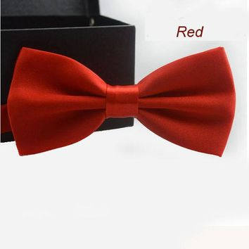ONETOW New Adjustable Men's Multi Silk Pine Bow tie Wedding Party Necktie Bowtie For Men Candy Solid Colors Neckwear Pre-Tied 19525
