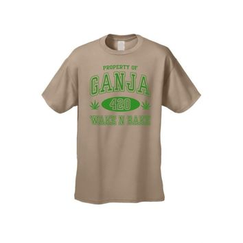 "Men's/Unisex ""Property of Ganja 420 Wake N Bake"" Short Sleeve T-shirt"