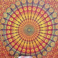 Red Mandala Hippie Tapestry Wall Hanging, Mandala Tapestry,Hippie Tapestry ,Hippie Wall Hanging,Bohemian Tapestry,Wall Decor,Beach Throw
