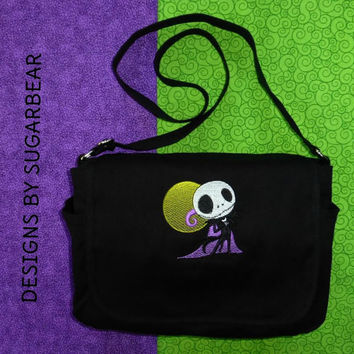 Jack Skellington Nightmare Before Christmas Handbag, Messenger Bag,  Diaper Bag,  Purse - Custom Machine Embroidered Design Versatile Uses!