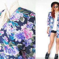 Vintage 80's oversized navy blue purple violet floral flower coat jacket blazer dynasty disco