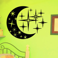 Vinyl Wall Sticker Decals for Nursery Moon Stars Crescent Decor for Bedroom Home Interior Art Mural Z720