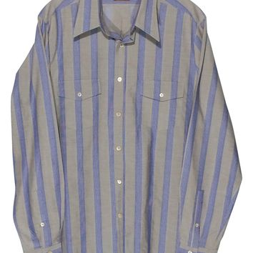 Missoni Italy 2 Pocket Blue Striped Gray Button Front Dress Shirt Men's Eur 48 S - Preowned