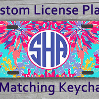 Custom Monogrammed personalized license plate. Lily Pulitzer Sippin and Trippin inspired Vanity car tag. Gifts under 20 #1078