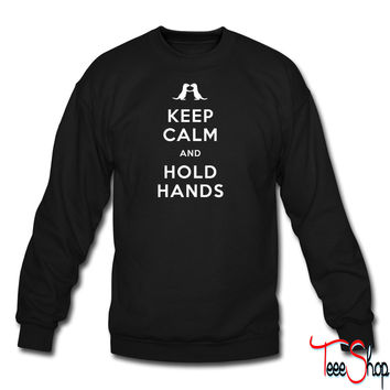 Keep Calm and Hold Hands (Otters holding hands) crewneck sweatshirt