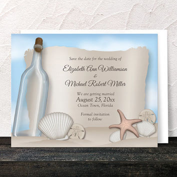 Beach Save the Date Cards - Seashells Sand Blue Sky - Message from a Bottle Tropical Destination Seaside Wedding - Printed Flat Cards