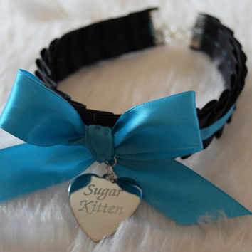 Sugar Kitten Engraved Heart BDSM Collar Silver Charm Black Blue Ribbon Bow Cosplay Kitty Choker Cat Necklace Neko Kitten Slave Fetish