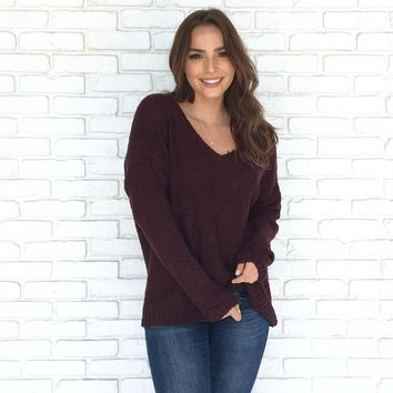 Come Play With Me Sweater In Plum