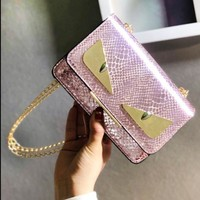 Fendi New fashion eye leather snake texture shoulder bag women Pink