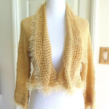 Sparkly Beige Shrug with Sequins and Fur, Gift for Her