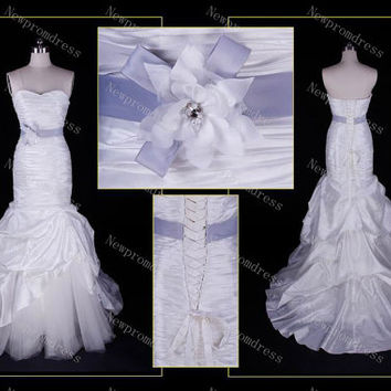 White tulle and taffeta with sashes mermaid wedding dress ,cheapest for 2014