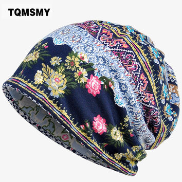 TQMSMY 2017 Flowers pattern summer Hats for Women Multi Use Beanies Masked Hood and Collar Scarf TMG803