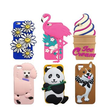 """3D Lovely Beer Milk Shake Lobster Soft Case For iphone X 5S SE 5C 6 6S 7 8 Plus 5.5"""" Panda Fox Sheep Bear Cover Phone Bags"""