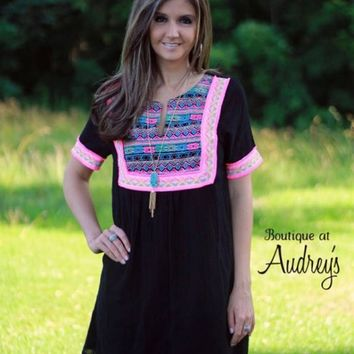 Entro Black Dress with Slit Neck, Tribal Embroidery, and Hot Pink Fringe Trim - Boutique At Audrey's