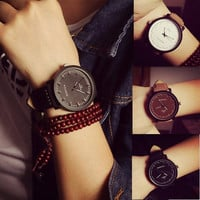 NEW Watch Fashion Round Steel Case Men women Faux Leather Quartz analog wrist Watch = 5987654017