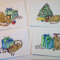 Christmas Cards, Card Set of 4, Cats, Original, Watercolors, Not Print