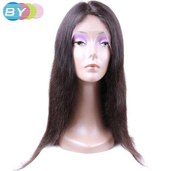 LMF78W BY Virgin Human Hair Straight Hair Brazilian Lace Front Wigs Natural Color 10-24inch Human Hair Wigs For Black Women