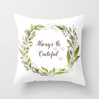 Watercolor Purple Berries Leaves Greenery Wreath Throw Pillow by DazzetteMarie