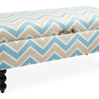 Kim Salmela, Mia Chevron Storage Bench, Teal/Tan, Bedroom Bench