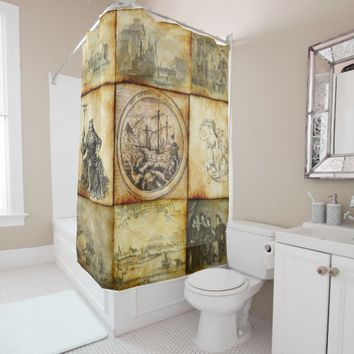 parchment combo 20 shower curtain