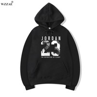 WZZAE Mens Hoodies 2017 New Style  Men's Casual Players Jordan  23 Print Hedging Hooded Fleece Sweatshirt Hoody Pullover M-XXXL