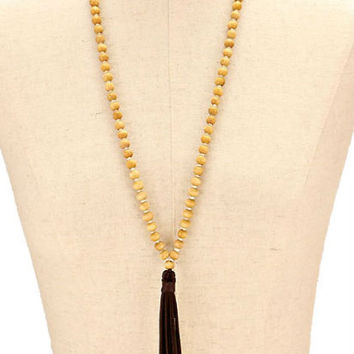 Cream & Brown Suede Leather Tassel Drop Wood Bead Strand Long Necklace