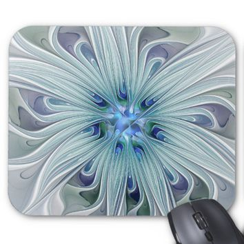 Floral Beauty Abstract Modern Blue Pastel Flower Mouse Pad
