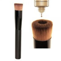 Pro Concave Style Wood Handle Nylon Fiber Hair Liquid Foundation Brush Black