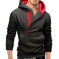 Zippered Cotton Hooded Sweatshirt