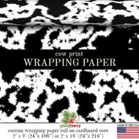 Cow Print Wrapping Paper | Custom Black And White Cow Print Gift Wrap Paper Roll 9 feet or 18 feet Great For Any Occasion.