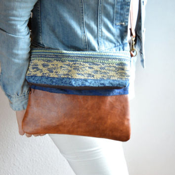Crossbody bag, Everyday purse, Shoulder bag, Leather and upholstery fabric bag
