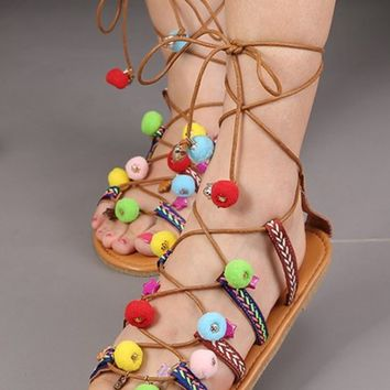 Colorful Pom Pom Lace Up Sandals