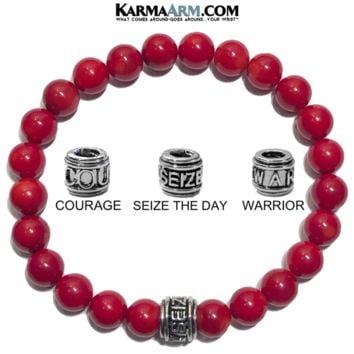 Mantra Motivation Bracelet | Red Coral | COURAGE | SEIZE THE DAY | WARRIOR
