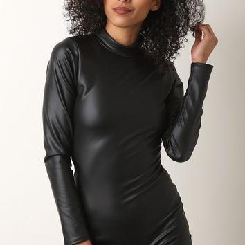 Vegan Leather Long Sleeve Catsuit Romper