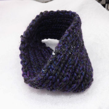 Thick Cable Knit Winter Headband - Black/Blue/Purple
