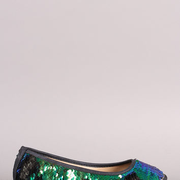 Liliana Hologram Sequin Slip On Ballet Flat