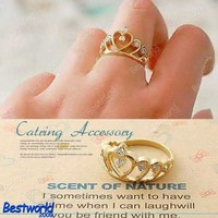 Fashion Lovely Cute Gold Color Crown Crystal Rhinestone Ring