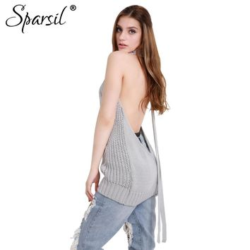 Sexy Open Back Knitted Sweater Anime Cosplay Turtleneck Sleeves Back Exposed Tie Pullovers Novelty Long Knitwear