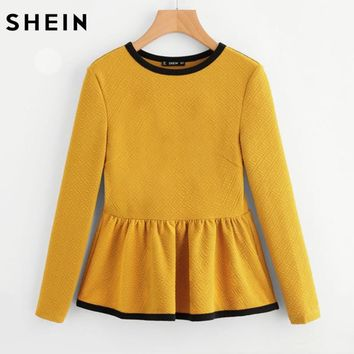 SHEIN Contrast Binding Textured Peplum Top Blouse Tops for Women Yellow Long Sleeve Casual Women Blouse