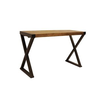 Industrial Design Console Table For Entryways With Wooden Top And Metal X Base By The Urban Port