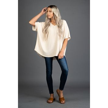 Solid Boxy Front Pocket Top in OATMEAL
