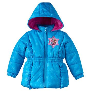 Disney's Frozen Anna & Elsa Snowflake Puffer Jacket - Toddler Girl, Size: