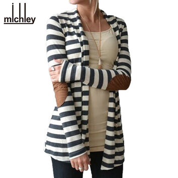 MICHLEY Grey Striped Cardigan Patching PU Leather Long Sleeve Knitted Cardigan Fall 2016 Spring Autumn Women Sweater Top5071