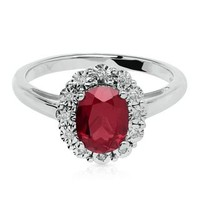 LAB-CREATED RUBY & DIAMOND RING IN STERLING SILVER