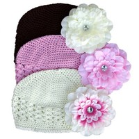6 Piece Neapolitan Hat and Unique Flower Clip Set S