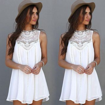 Carissa Boho Dress - New Summer Women Casual Sleeveless White Short Mini Dress Cocktail Party Evening
