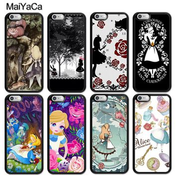 MaiYaCa Alice in Wonderland Cartoon Print Soft Rubber Skin Phone Cases For iPhone 6 6S Plus 7 8 Plus X 5 5S SE Back Cover Coque