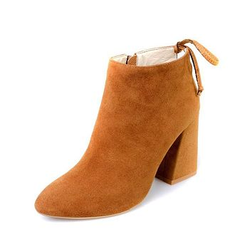 Suede Side Zipper Lace Up Pointed Toe High Chunky Heel Short Martin Boots