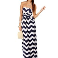 NavyWhite Strapless Chevron Maxi Dress